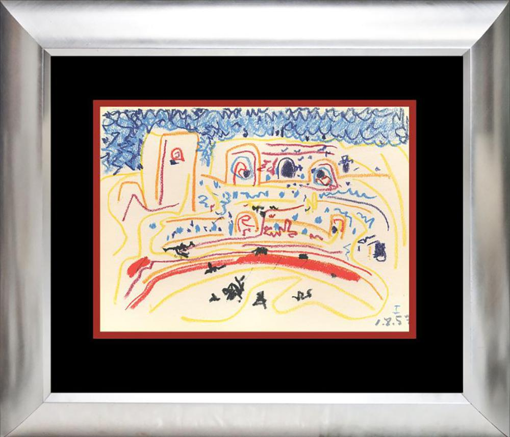 Pablo Picasso Lithograph 60 years ago Toros y Toreros Approx 24x20 inches custom framed. Printed in Paris Mourlot Press. Includes certificate.