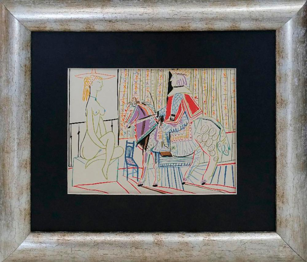 Pablo Picasso Lithograph from 1960s colored drawing