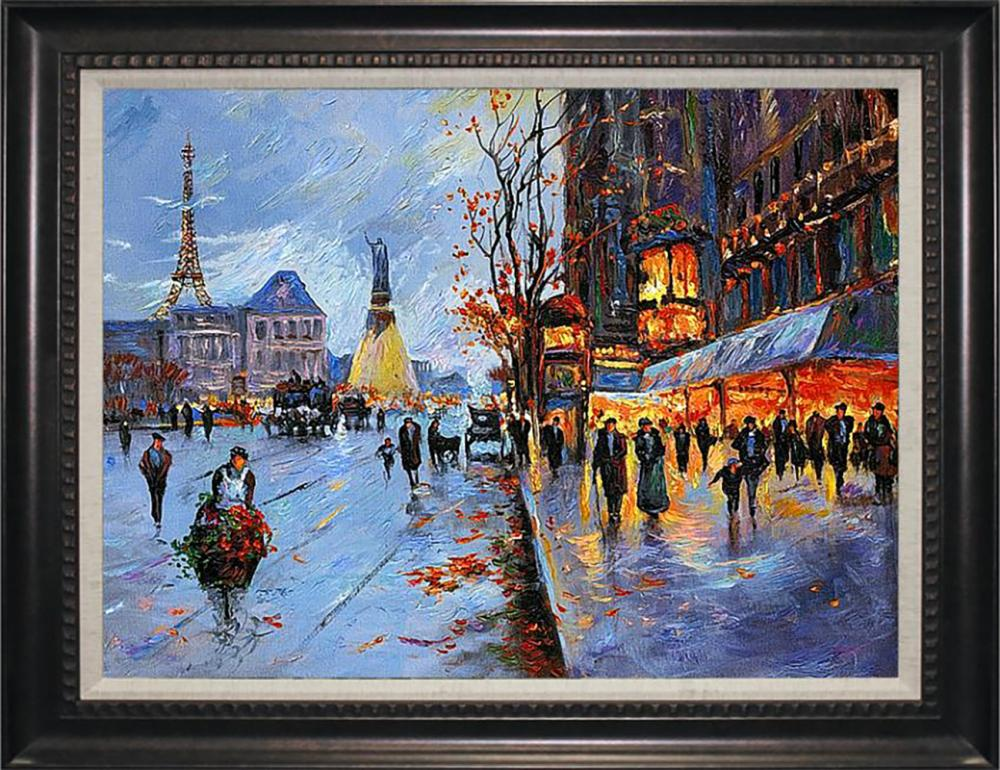 Flower Seller Hand embellished Limited edition on canvas by Michael Schofield 27x32 Approx. image size
