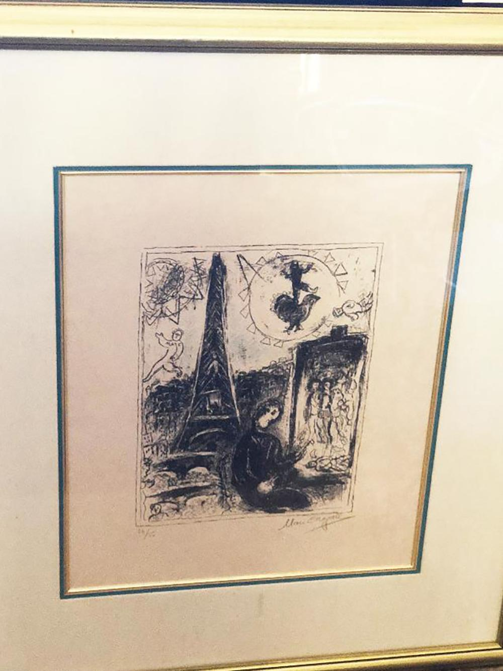 The Painter at Eiffel Tower  Marc Chagall Original Lithograph Hand signed and numbered 24 of 50 edition. Approx 20x17 inches image size. Limited Edition Hand signed and numbered. lithograph