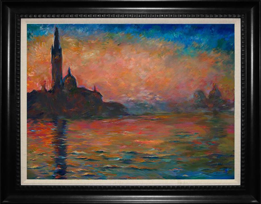 Venice at Dusk Claude Monet Hand Embellished on canvas