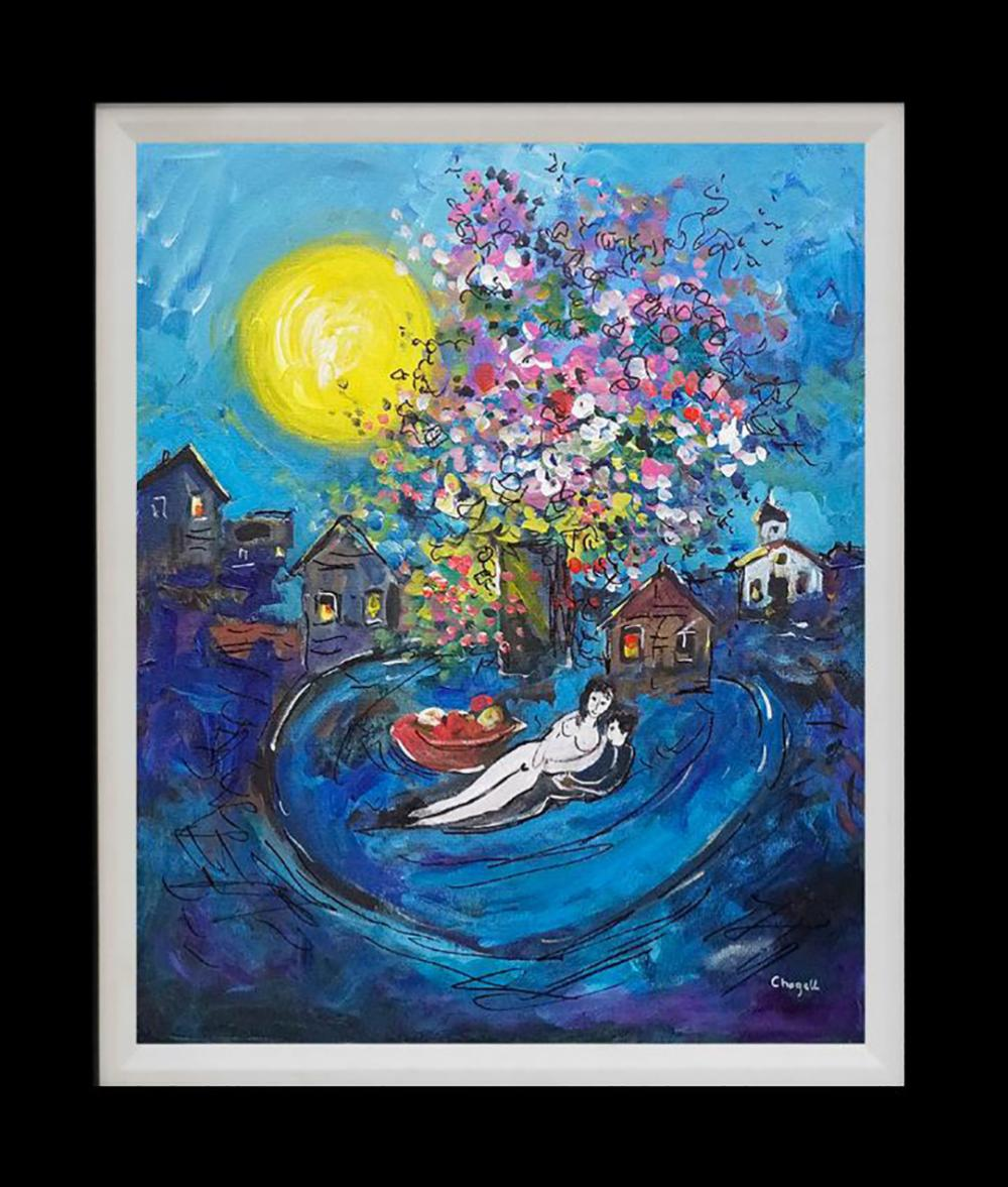 Original canvas in the manner of Marc Chagall
