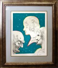Marquis de Sade Limited Edition Lithograph Salvador Dali Merville and His Sons Reunited