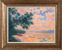 Robert Copple Boating in the Evening Original on canvas