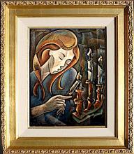 Zinovy Shersher Shabbat Original oil on canvas