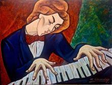 Zinovy Shersher Entertainer Original oil on canvas