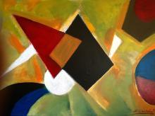 Zinovy Shersher Red Pyramid Original oil on canvas