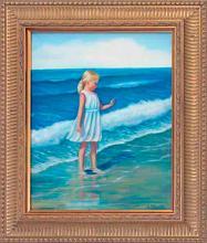 Rafael Mangiao -Original Oil-Girl by the Shore