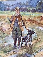 Frank Weston Benson 1862 – 1951 Hunting  Original watercolor on paper circa 1913