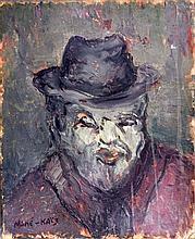 Mane Katz Emmanuel Original Oil on board Portrait with Hat