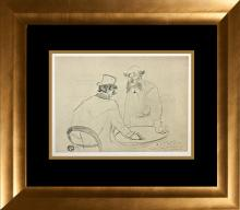 Toulouse Lautrec engraving on Velin d'Lana over 60 years ago signed in the plate
