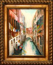 Rafael Venice Canal View Original Oil on Canvas en Plein Air