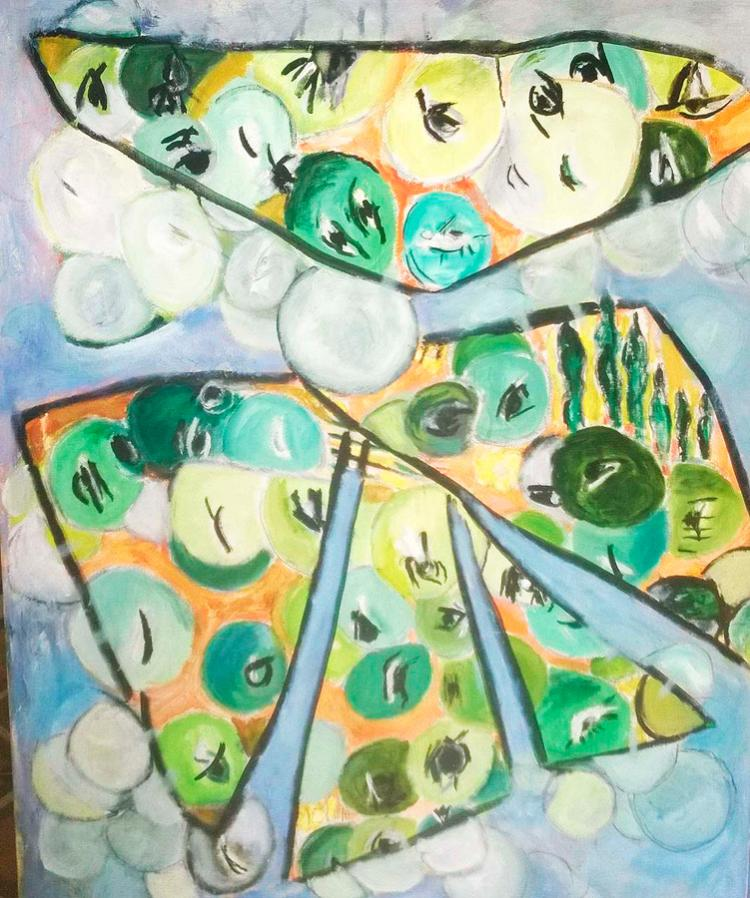 MY BEING IS FILLED WITH OTHER WORLDS  Original oil on canvas from 1970 HILDA LEZAMA FROM MONTEVIDEO 1930 -2004