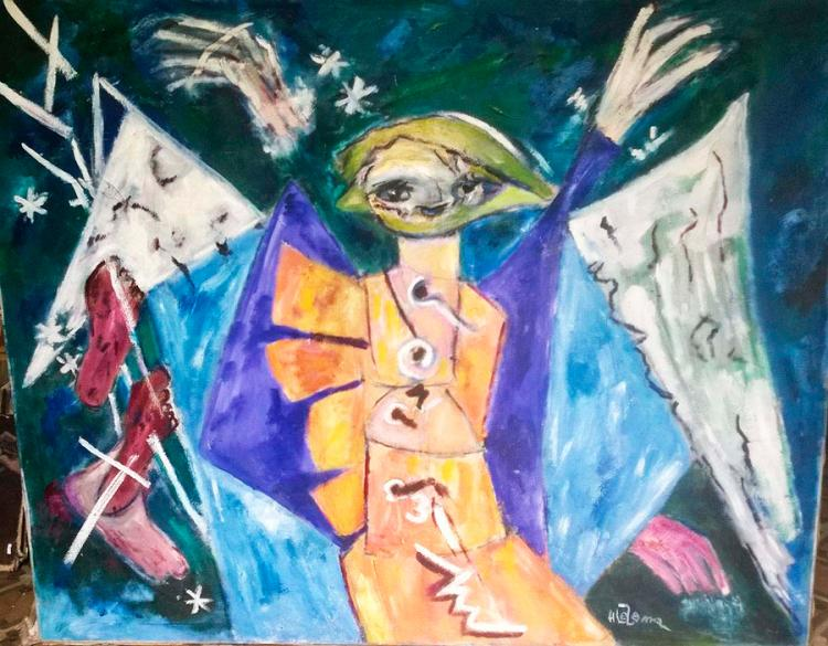 We will always leave Triumphant by HILDA LEZAMA 1930- 2004, OIL PAINTING  ON CANVAS from 1970