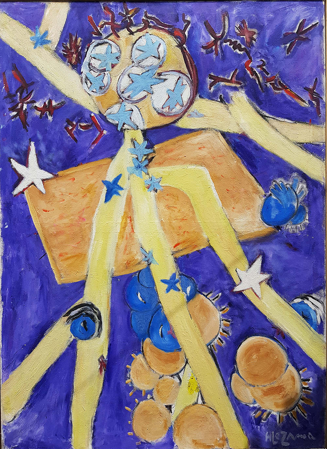 Space by Hilda Lezama original oil on canvas from 1970