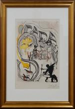 Salvador Dali Etching on Original Lithograph Limited Edition Memories of Surrealism Angel of Dada Surrealism