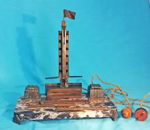 Trophy tribute to Jose Nasazzi mariscal the first world soccer football champion in Montevideo in 1930. (16x15 inches)