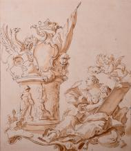 Old Master Drawing — Lady Sketching Sculpture