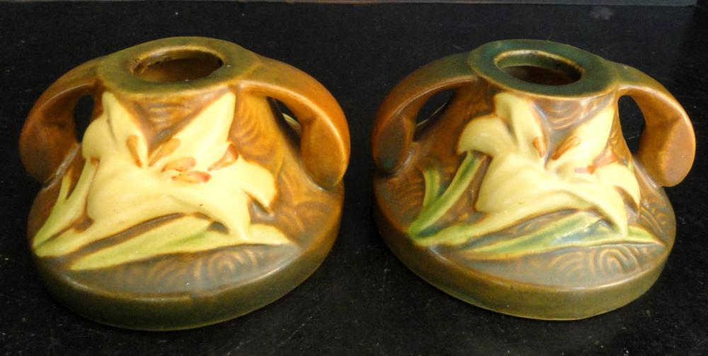Roseville Pottery Sienna Brown Zephyr Lily Candle Holders 11