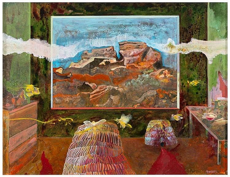 ROBERT CARROLL Interno sul confine 1986 Olio su cartone su tela cm 48 x 62