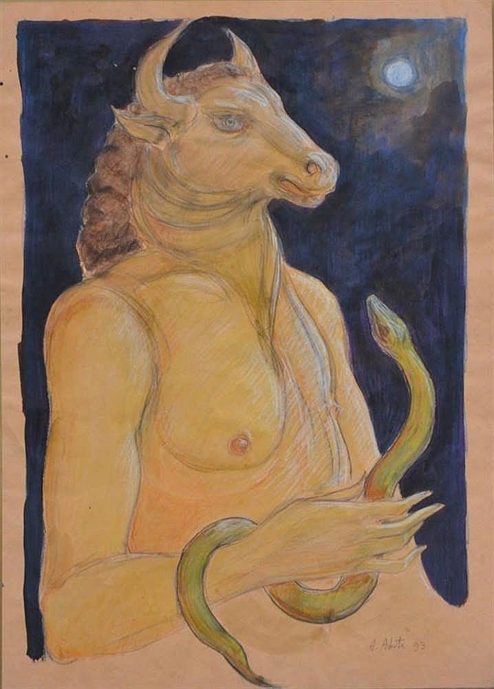 tempera di Abate raffigurante Minotauro con autentica