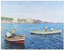 ROBERTO RIMINI Pescatori Capo Mulini 1956 circa Olio su tela cm 78 x 100