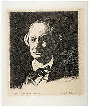EDOUARD MANET Acquaforte Ritratto Charles Baudelaire 1865