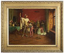 REGINALD ERNEST ARNOLD Vestizione di un cavaliere Olio su tela cm 87x112