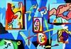 UGO NESPOLO Ricordi di visi, 1980 ca. Acrilico su legno cm 70 x 100, Ugo Nespolo, €800