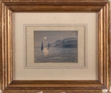 """LUIS MASRIERA ROSES (Barcelona, 1872 - 1958) Título: """"Puesta de sol"""" Fir"""