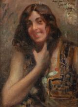 """ANDRÉS LARRAGA (Valtierra, Navarra 1860 – 1931) - """"Retrato de odalisca"""""""