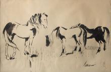 """JOSEP MIQUEL SERRANO SERRA (Barcelona, 1912 Sitges, 1982) - """"Caballos"""""""