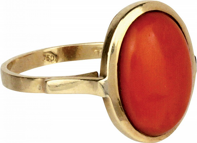 Gold and coral ring.