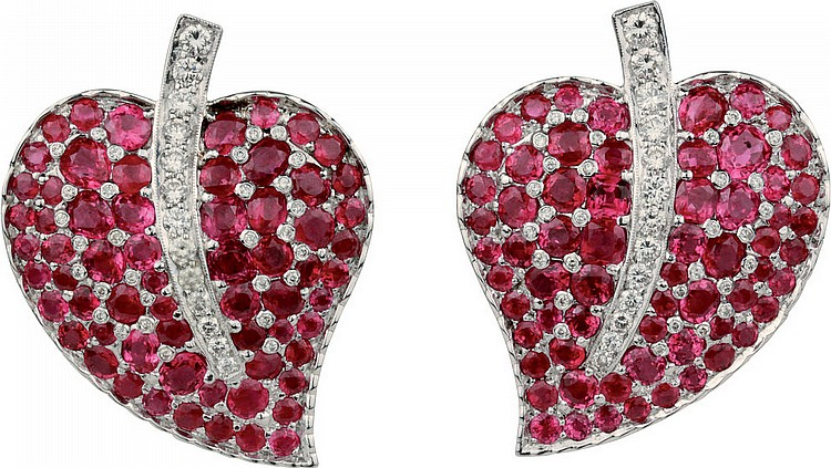 White gold, ruby and diamond earrings.
