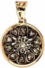 Gold andsilver pendant with diamonds, first half 20th cent.