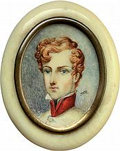 Portrait miniature, early 20th cent. Signed JR.