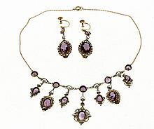 Gold and amethyst demi-parure, first half of 20th cent.
