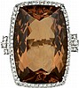 White gold ring with important citrine quartz and diamonds, '60S.