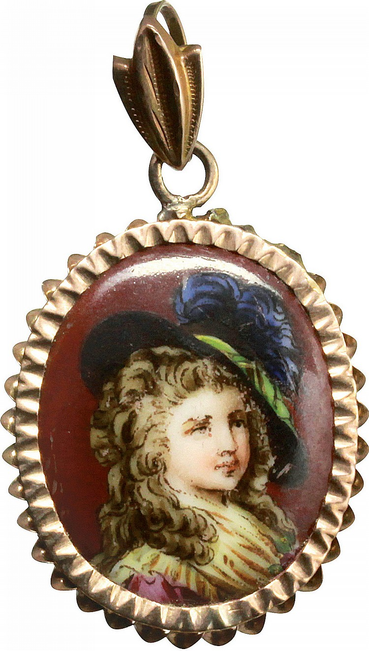 Ceramic portrait pendant, early 20th cent.