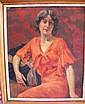 Eugène DELÉCLUZE . Femme à la robe rouge