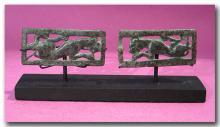 Two Ordos Bronze Belt Buckle Plaques with Leopards, 1st Millennium B.C.
