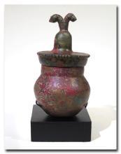 Rare Copper Alloy Elamite Pyxis and Cover  c. 1800 B.C.