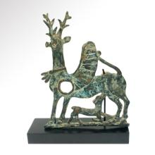 Large Luristan Bronze Winged Stag and Fawn, Horse Cheekpiece, Persia c. 900 B.C.