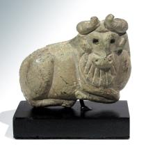 Large Sumerian Serpentine Bull Amulet Seal, c. 2500 B.C.