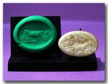 Anatolian Steatite Scaraboid Seal with Running Stags, c. 1500-1000 B.C.