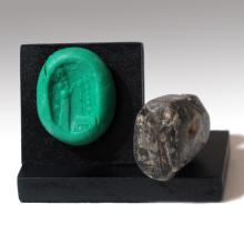 Agate Neo-Babylonian / Neo-Assyrian Stamp Seal, c. 9th-7th Century B.C.