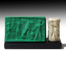 Old Babylonian White Marble Cylinder Seal, c. 2000-1600 B.C.