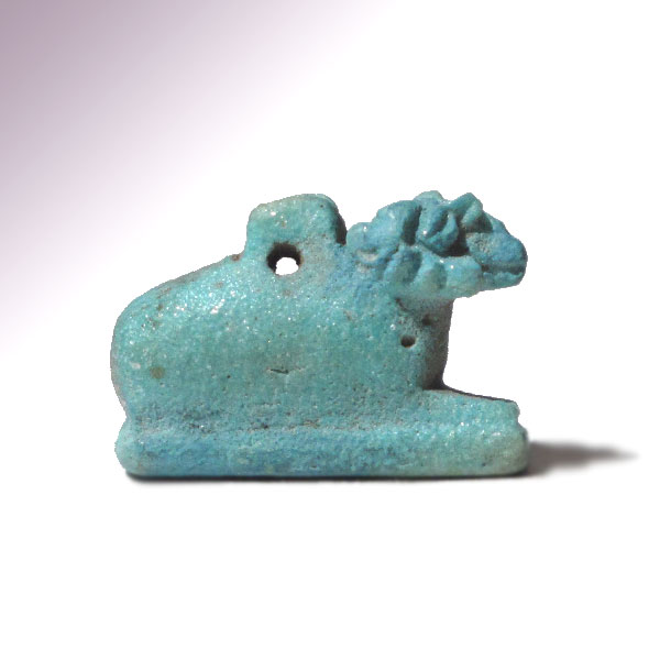 Egyptian bright turquoise faience amulet of khnum c 900 b for Faience turquoise