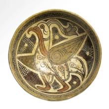 Nishapur Pottery Bowl with Large Bird, Persia, c. 12th Century A.D.