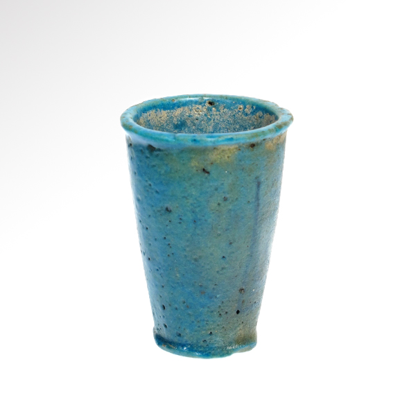 Egyptian turquoise faience offering cup c 1200 1000 b c for Faience turquoise